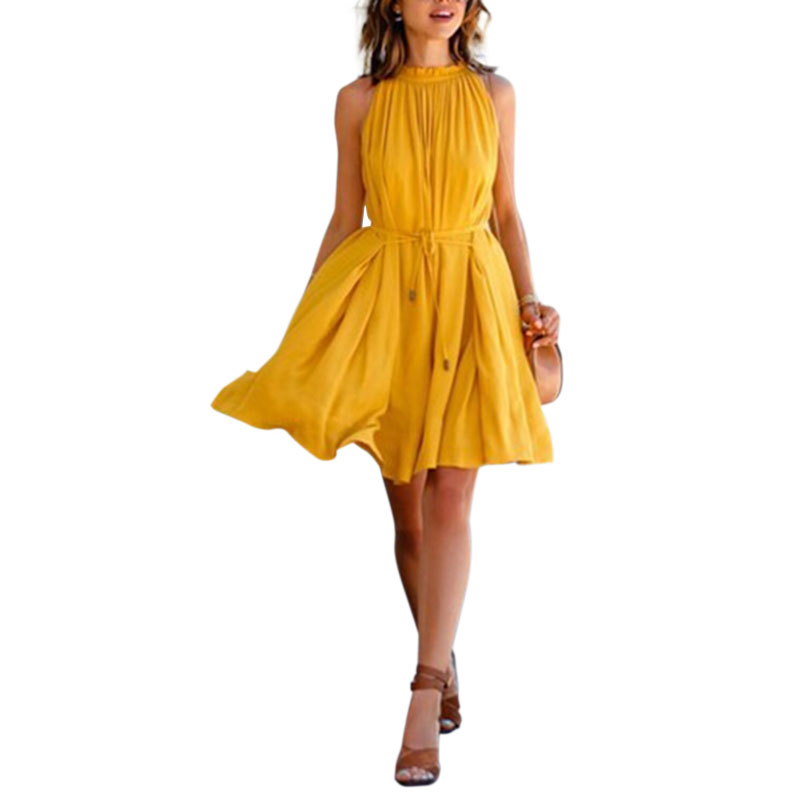 Women's Summer Beach Dresses Chiffon Yellow Sleeveless Evening Party Dress Ruffled Pockets Casual Short Mini Dresses with Sashes