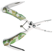 Multi-functional stainless steel road pliers camouflage belt knife open double ring cutting line pressure fishing
