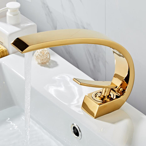 Image 2 - Free shipping Chrome/Golden/Green/black Brass Bathroom Faucet.basin faucet mixer tap with Hot&cold water.deck mounted water taps
