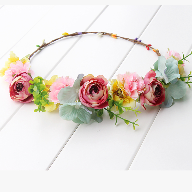 pink yellow green Flower Crown Headband Boho Hippie Festival Floral - Apparel Accessories - Photo 5