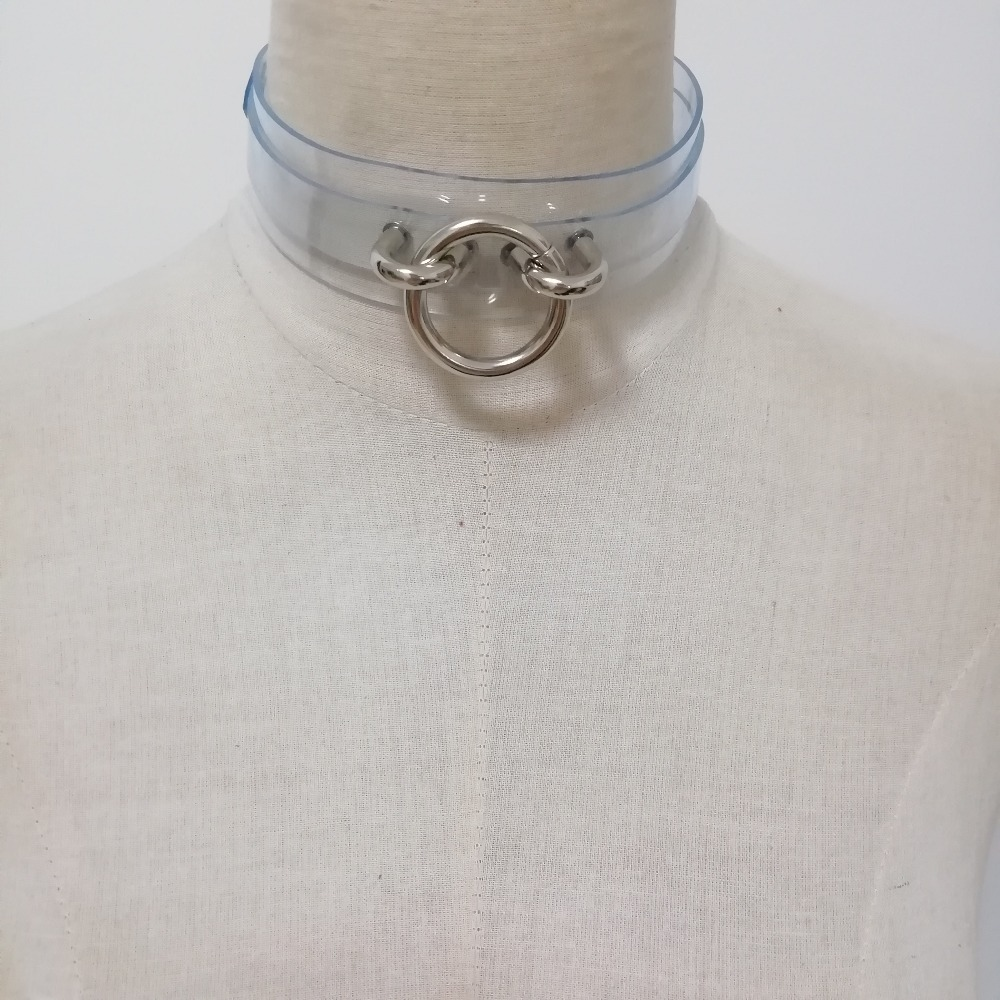 Handmade Pink Vinyl Clear Choker Cosplay Anime Slave Collar Cute Kawaii Necklace