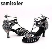 Samisoler Latin dance shoes zapatos de baile latino mujer shining Bronze Skin Black satin Women Salsa party Ballroom shoes цена