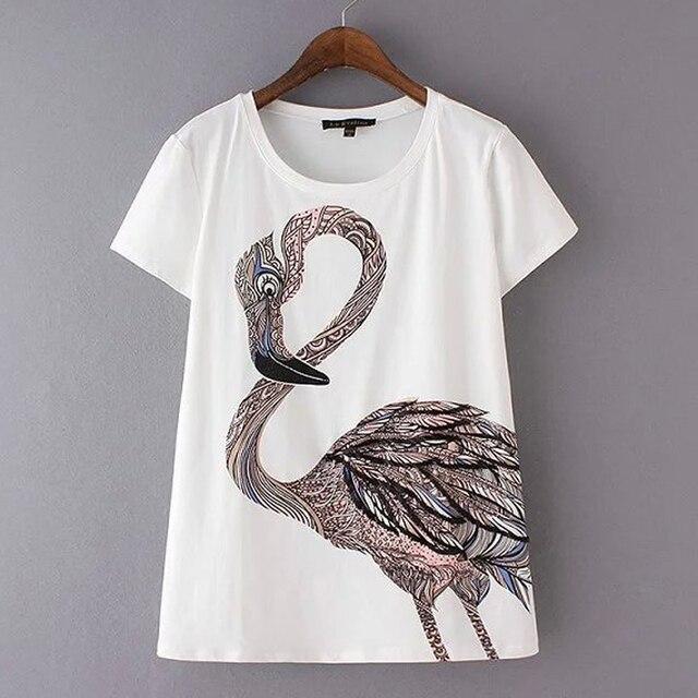 Women Flamingo Short Sleeve Casual Cotton Tops T Shirt 2016 Summer New Arrivals