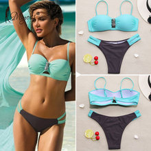 Miyouj Sexy Bikini Push Up Bandeau Swimsuit Female 2019 Hollow Out Swimwear Solid Bathing Suit Women Biquini Halter Bikini Set