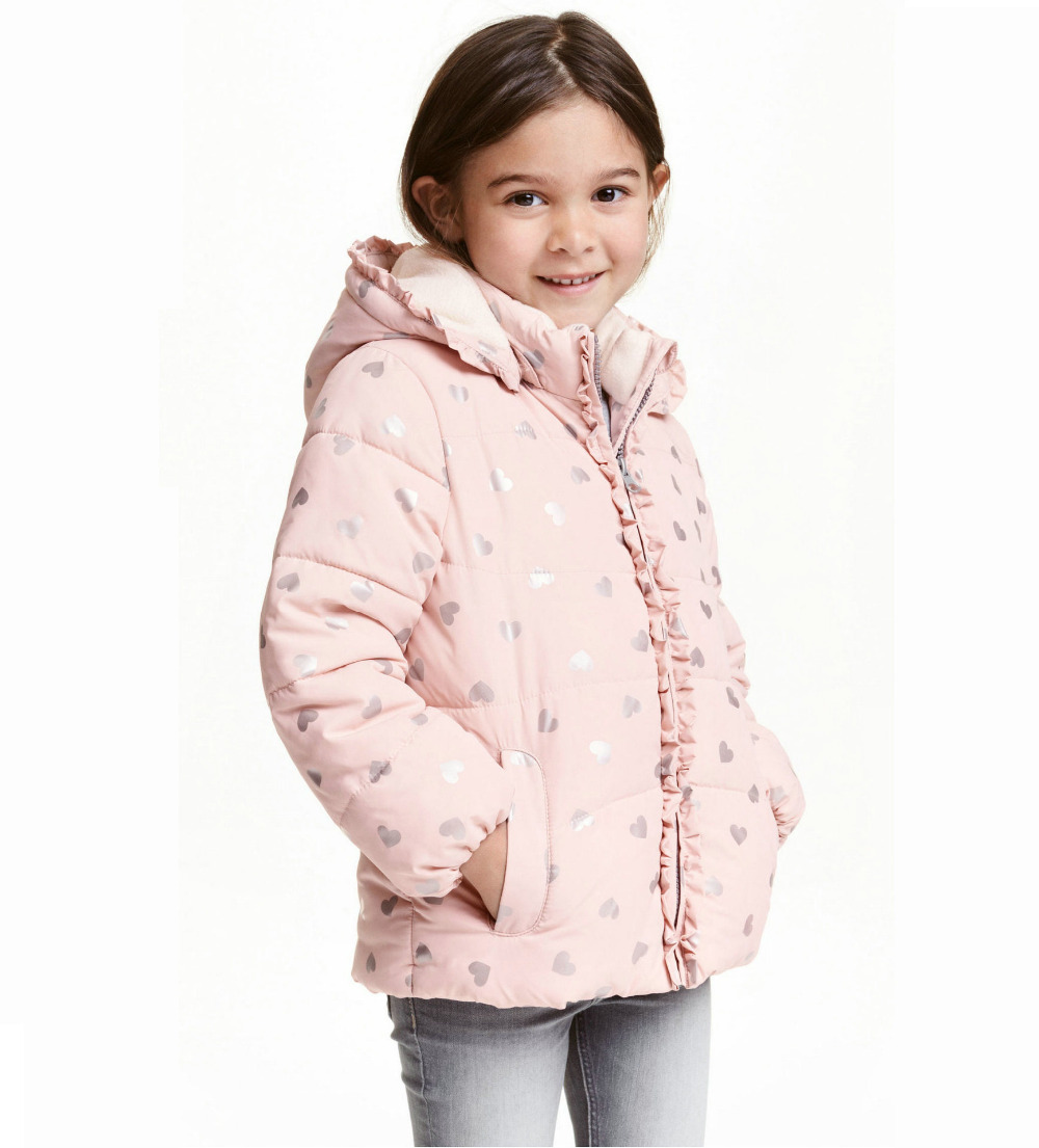 Girl s Winter Pink Love Heart Jacket Children Flower Hooded Cotton Padded Clothes outwear Kids Coat