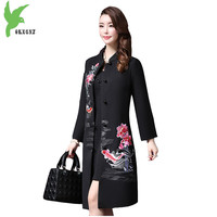 New Spring Coat Jacket Female Costume Retro Jacket Embroidery Casual Tops Fashion Loose Plus Size 5XL Black Outerwear OKXGNZ 559