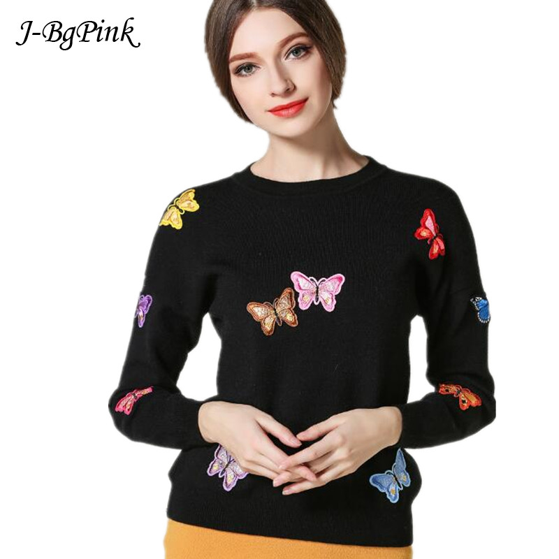 2019 Winter Women's Sweaters And Pullovers Knitted Butterfly Appliques Sweater Top Long Sleeve Women's Casual Autumn Sweater Fem