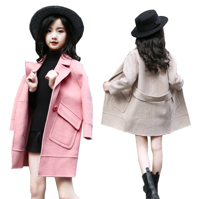 Baby Girls Wool Coat for Girl Jacket Thick Kids Jacket for Girls Winter Coat Woolen Outerwear Children Clothing 6 7 8 9 10 years one button design longline woolen coat page 8
