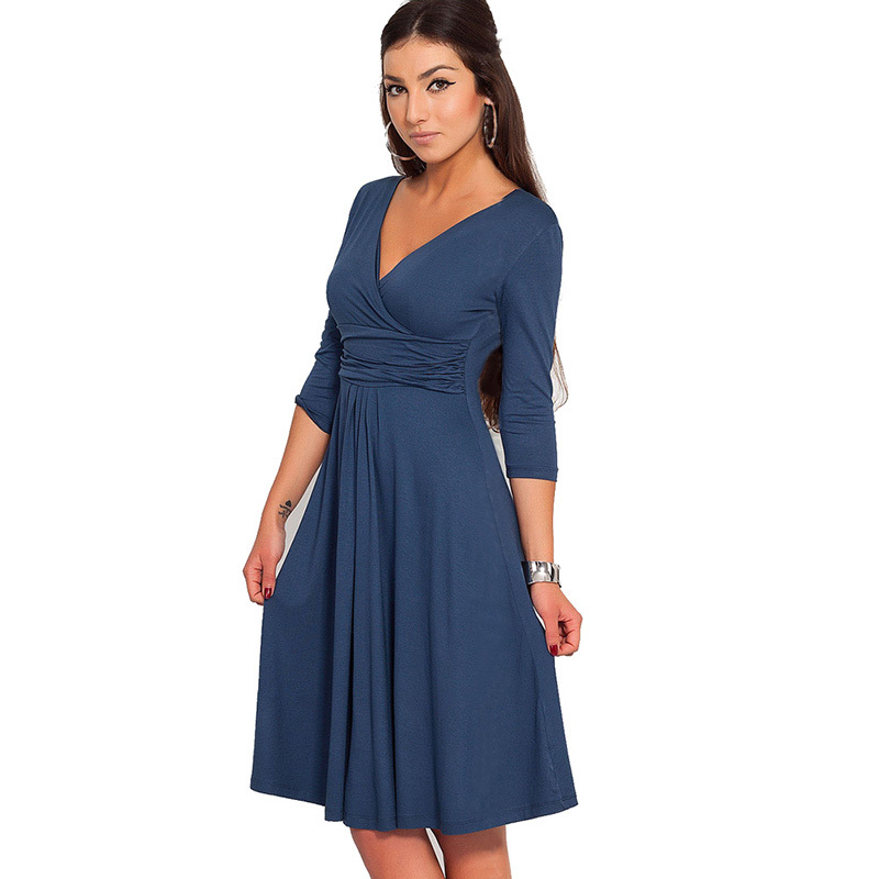 95a5b05610ddd Bodycon V Yaka Üç Çeyrek Kollu Diz Boyu Yeni Moda Sıcak Satış Kadın Elbise  Bahar Sonbahar Parti Kokteyl Günlük Elbiseler