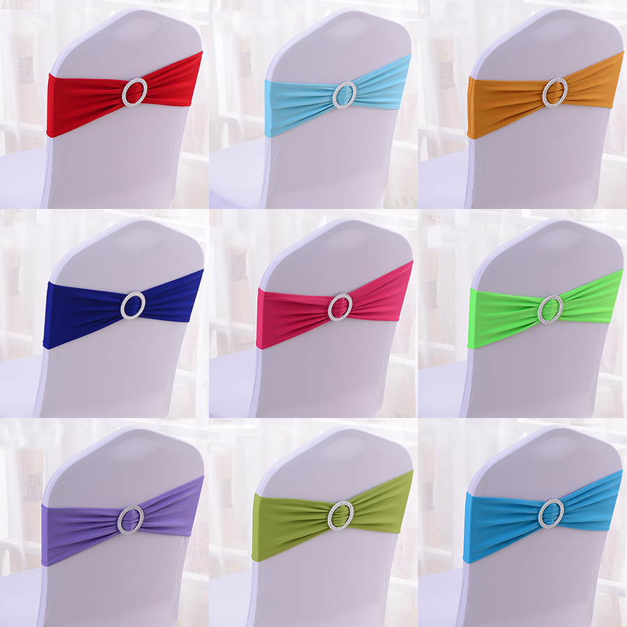 Wholesale 100pcs/lot Spandex Lycra Wedding Chair Cover Sash Bands Wedding Party Birthday Chair Decoration Chair Sash