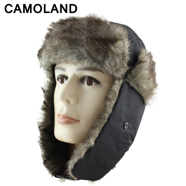 Winter hat for men women Warm Thicken Soviet Military Russia Ushanka Bomber  Hats Pilot Trapper Trooper Faux Fur Earflap Snow Cap b4847b16054c