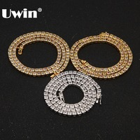 Uwin Bling Bling Iced Out Square Colored CZ Tennis Chains Necklaces For Men Women Hiphop Gold Chains Cubic Zirconia Jewelry
