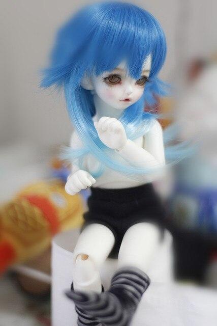 1/3 1/4 1/6  bjd  wig   doll  DIY High-Temperature  blue  long curly  hair for  BJD/DD dollfie