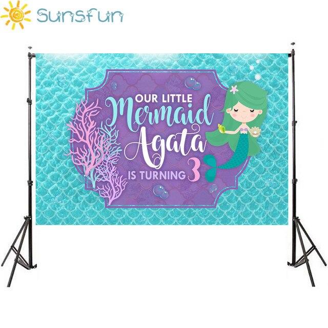 Sunsfun Русалочка День рождения Photo Booth фон рыбы в море принцессы для маленьких девочек фотографии фоном