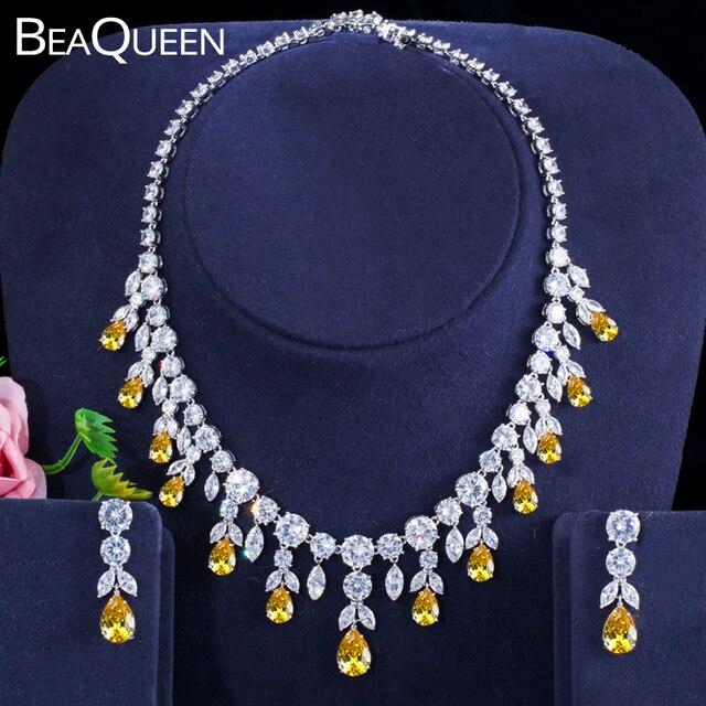 BeaQueen Luxuriöse Afrikanische Zirkonia Perlen Schmuck Set Nigerian Hochzeit Gelb Braut Schmuck Sets für Frauen JS091
