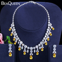 BeaQueen Luxurious African Cubic Zirconia Beads Jewelry Set Nigerian Wedding Yellow Bridal Jewellery Sets for Women JS091 laanc yellow simulated pearl beads african jewelry set nigerian wedding necklace sp1r012