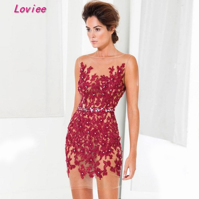 3ffd202868ea4 Sexy Burgundy Short Lace Cocktail Dresses 2017 White Beaded Women's Evening  Party Dresses Formal Dress Online Customized