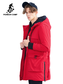 Pioneer camp new winter thick warm down jackets men brand clothing big pockets down parkas male 90% grey duck down red AYR801462