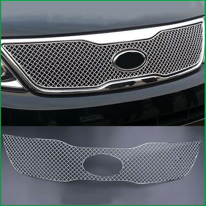Car styling Stainless Steel Front Bumper Honeycomb Grille For Kia Sorento 2013 2014 Center grill Cover