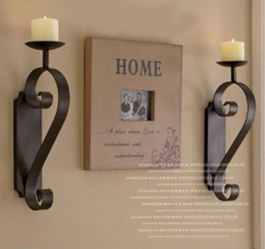 2pcs/pack European style wrought iron Candle Holder shelf Classic design Metal Candlesticks flat iron home accent ...