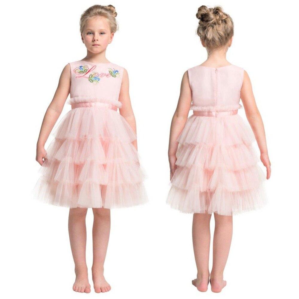 Summer Dress for Children Flower Girls Dress Party Wedding Dress Elegent Princess Vestidos Ball Gown Layered Dresses Pink random florals ruffle layered split dress