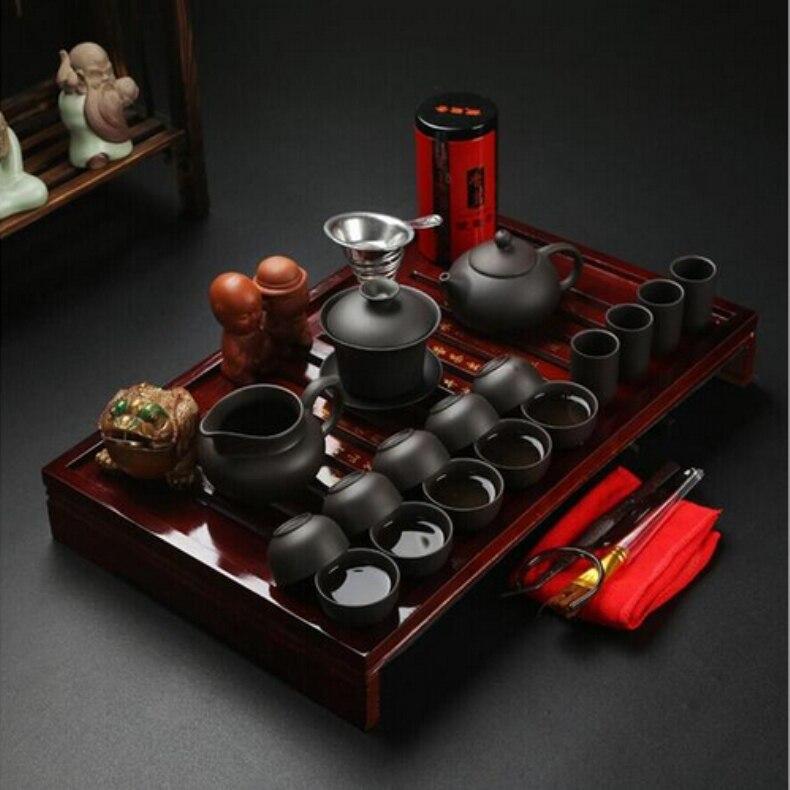Ensemble de thé chinois Kung Fu boisson en argile violette en céramique Binglie trois options comprennent thé pot tasse Tureen infuseur TeaTray