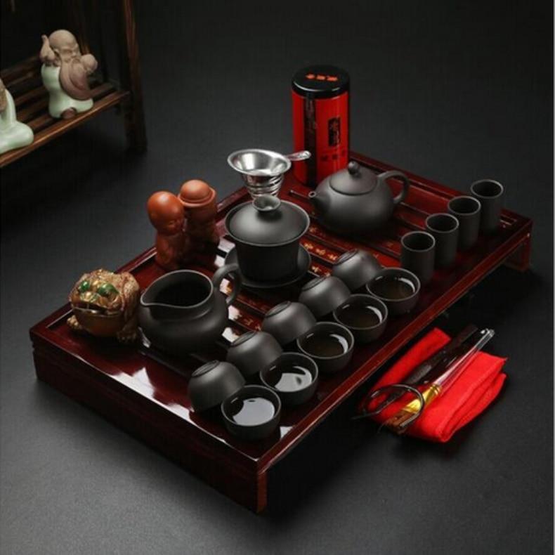 Kung Fu cinese del Tè Set Articoli e Attrezzature per Acqua, Caffè, Tè Viola Argilla ceramica Binglie tre le opzioni includono pot Tazza di Tè Zuppiera Infusore TeaTray-in Tazze e piattini da Casa e giardino su  Gruppo 1