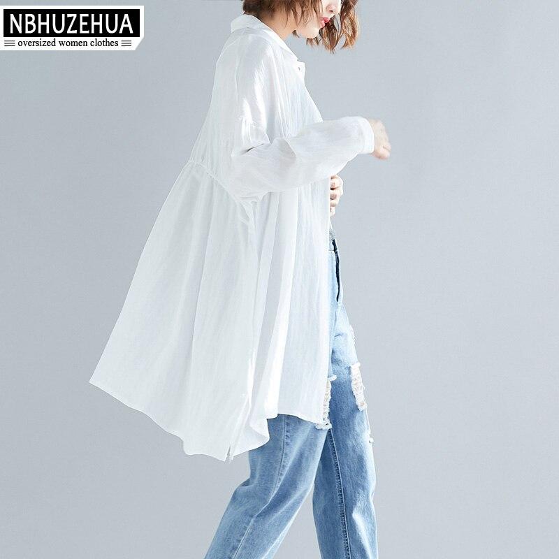 19 Blusas Delgada Cardigan Las Mujeres d18 Blusa Negro 2019 Mujer Nbhuzehua Shirts Algodón Primavera Blouses Blanca Shirts women Women De Manga Lino Larga 5xl IqTwx84