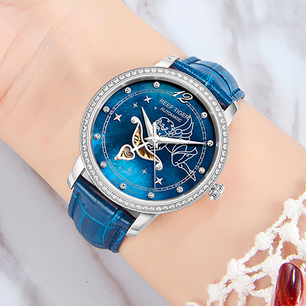 New Reef Tiger RT Fashion Womens Watches Blue Dial Stainless Steel Watches for Lover Diamonds Ladies