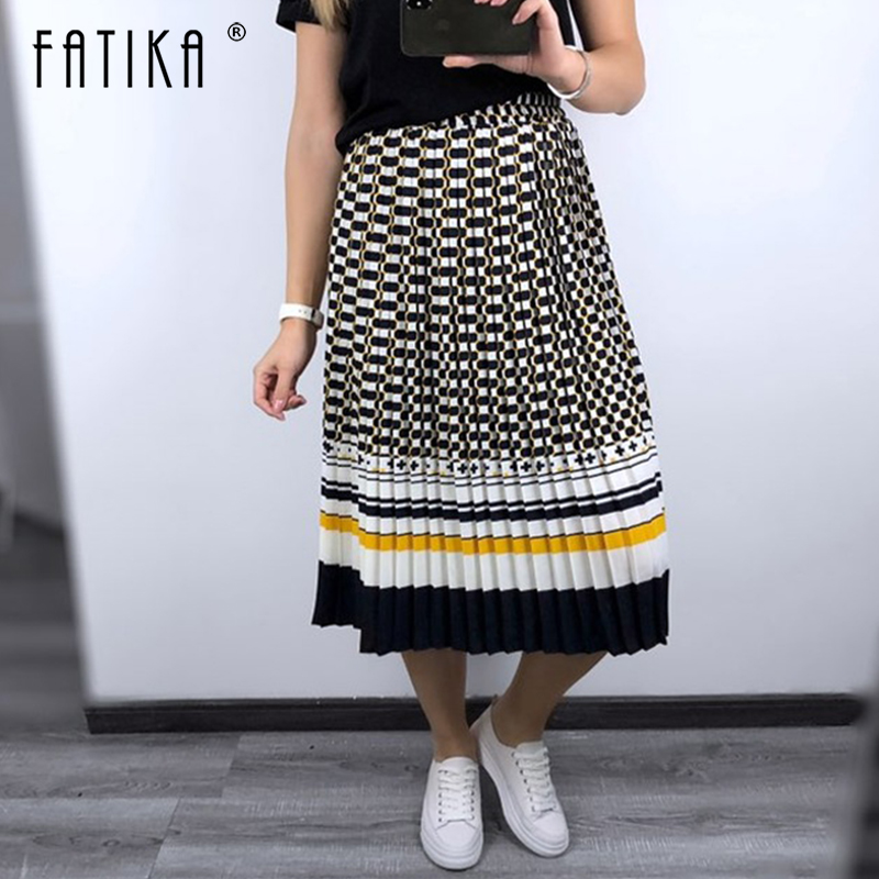 FATIKA 2019 Spring Summer Pleated Skirt High Waist Skirts Elegant Ladies Bottoms Streetwear Female Skirts Hot