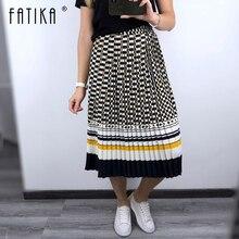 FATIKA 2019 Spring Summer Pleated Skirt High Waist Skirts Elegant Ladies Bottoms Streetwear Female Skirts Hot