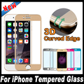 New 3d design radiano borda titanium alloy + vidro temperado para iphone 7 plus 4.7 5.5 polegada cor protetor de tela de cobertura completa filme