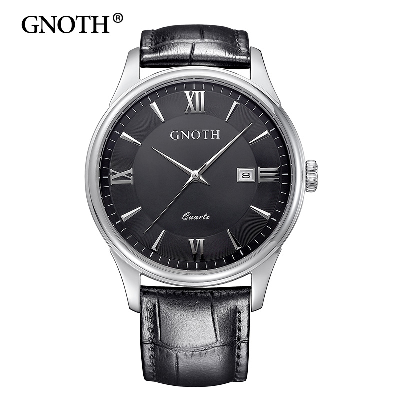 GNOTH Top Brand Men Watch Fashion Leather Clock Analog Date Sapphire Waterproof Quartz Wristwatches Relogios Masculino Hot Sale 2016 new hot sale brand magic star black white analog quartz bracelet watch wristwatches for women girls men lovers op001