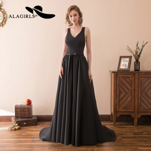 Alagirls A Line Evening Dress 2019 Sexy Spaghetti Prom Backless Homecoming Black Party Dresses Graduation Gown