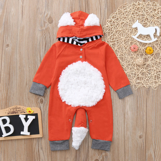 Newborn Infant Baby Girls Boys 3D Cartoon Fox Hooded Romper Jumpsuit Outfits baby costume mameluco bebe
