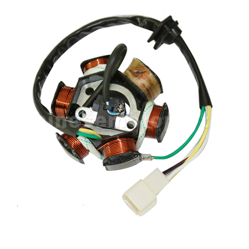 GOOFIT 6 Poles 5 Wires Half-Wave Ignition Magneto Stator for GY6 50cc 70cc 90cc 110cc 125cc ATV Quad Pocket Bike k079-004 nb411 ignition coil for robin ec04 bg411 cg411 magneto stator 47cc 49cc 2t atv pocket dirt bike brushcutter ignitor module