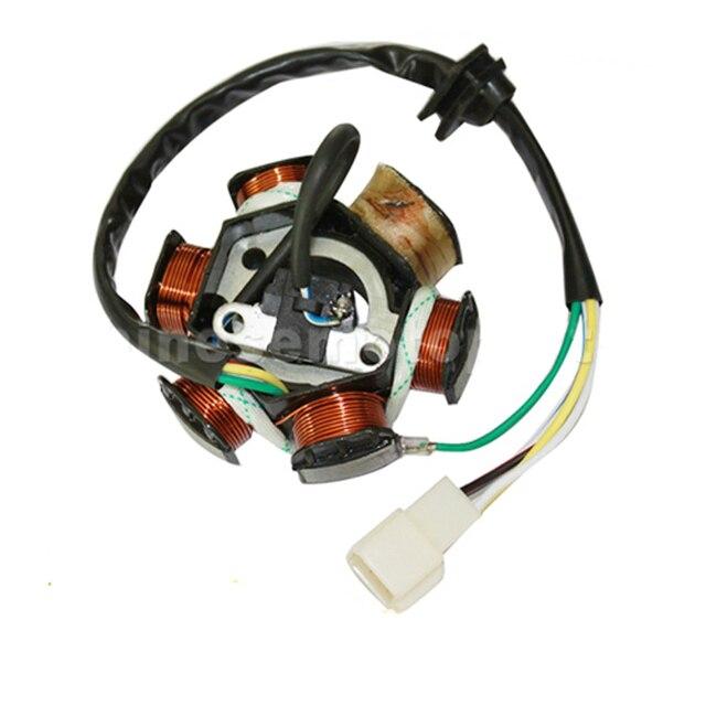 GOOFIT 6 Poles 5 Wires Half-Wave Ignition Magneto Stator for GY6 50cc 70cc 90cc 110cc 125cc ATV Quad Pocket Bike k079-004