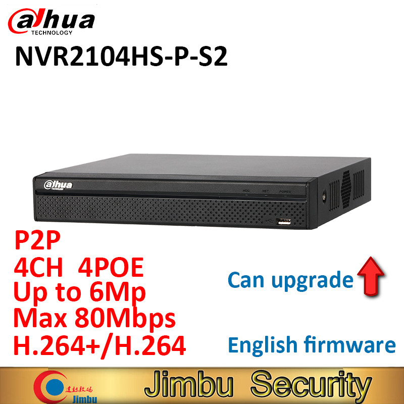 Dahua NVR 4PoE NVR2104HS-P-S2 4CH Compact 1U Lite H.264+/H.264 Up to 6Mp Network Video Recorder Max 80Mbps bandwidth ixfk66n50q2 to 264