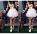 Real dois / 2 peça Backless Prom vestido de festa curto ouro e branco Prom vestidos com alcinhas