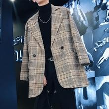 2018 Korean Men's Fashion Lattice Woolen Blend Casual Loose Jacket Grey/Blue Mid-Length Windbreaker Cashmere Long Coat M-2XL