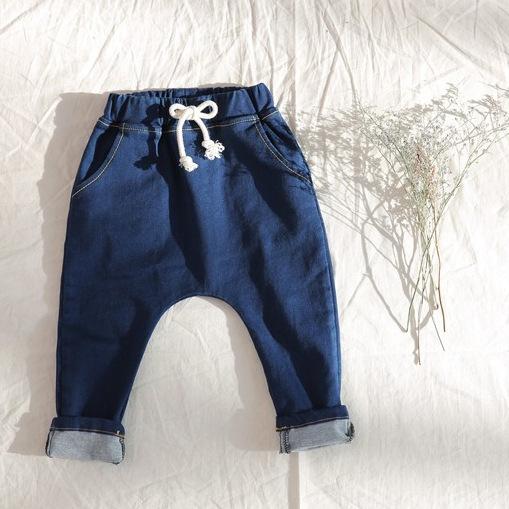 1-5 años algodón 2016 nueva primavera para niños muchachas de los muchachos pantalones vaqueros del bebé pantalones harén niños pantalones de los muchachos tela elástico de la cintura
