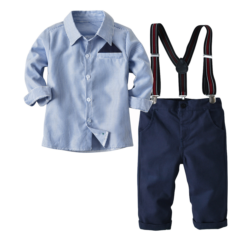 2-7T Boys 2 Pcs Clothing Set For Baby Kids Striped Costume 2018 Autumn Long Sleeves Shirt Children Suspender Trouser Set недорго, оригинальная цена