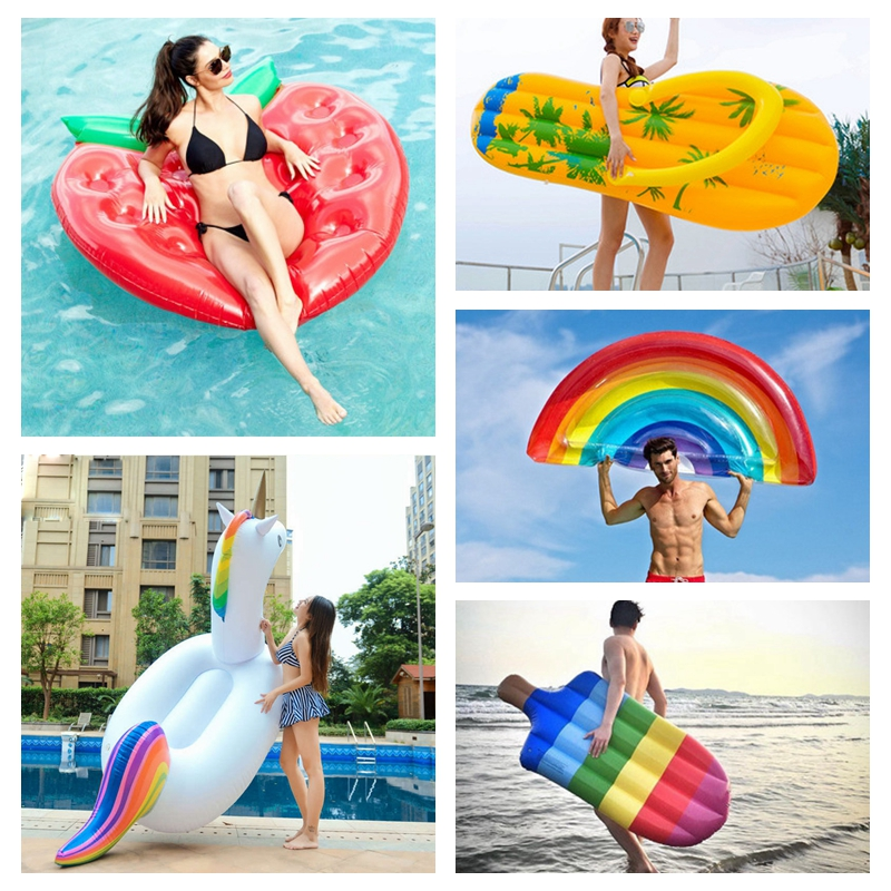 Inflatable Mattress Swimming Pool Float Mattress Giant Pool Lounge Party Toys Adult Summer Beach Swimming Ring Life Buoy Raft