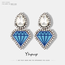 Clip Earrings Yhpup Jewelry Charm Rhinestone Funny Statement Heart-Leather Trendy Women