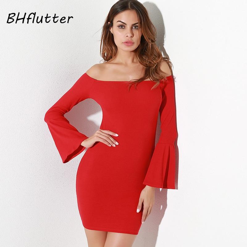 BHflutter 2018 New Off Shoulder Knitted Dress Women Flare Sleeve Spring Autumn Dress Elegant Red Mini