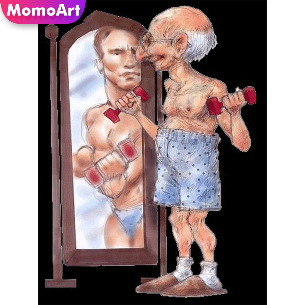MomoArt Diamond Painting Old Man Embridery Full Square Rhinestone Mosaic Cartoon Home Decoration