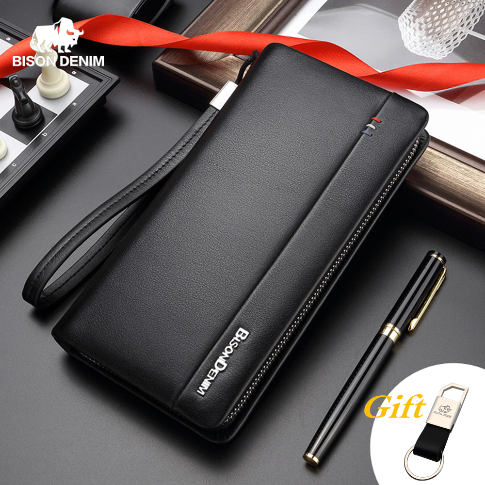 BISON DENIM Genuine Leather Long Wallet Men's Clutch Bag Cowskin Leather Wallets For Male Coin Purse Business Wallets N8008
