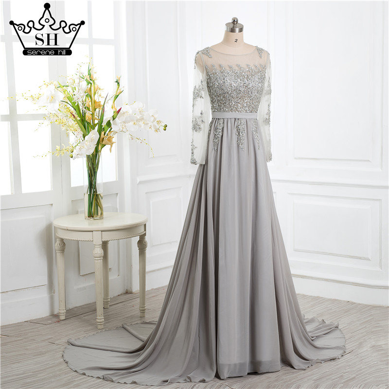Grey Beading Crystal Formal Long Sleeve back cover elegant