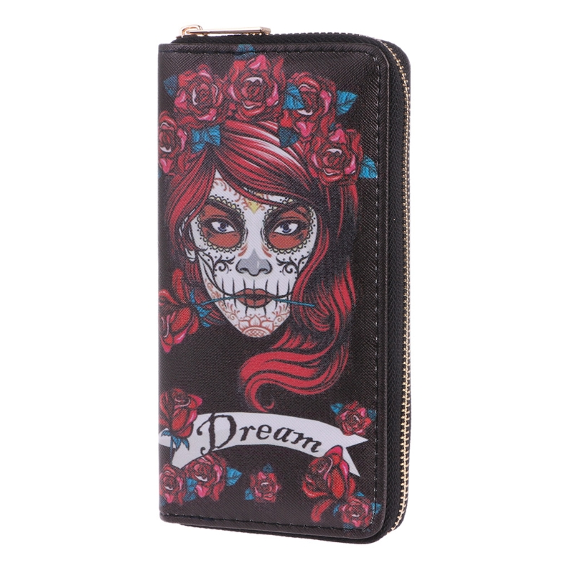 2020 New Vintage Women Skull Wallets Purses Phone Case Clutch Purse Lady Long Handbag Zipper Card Holder 19x10x2cm