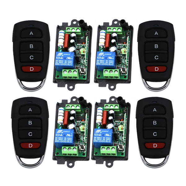 220V 10A 1CH RF Wireless Remote Control Power Switch Receiver 4pcs with 4-Button Buit-in Battery Transmitters 4pcs 3408 2pcs receiver transmitters with 2 dual button remote control wireless remote control switch led light lamp remote on off system